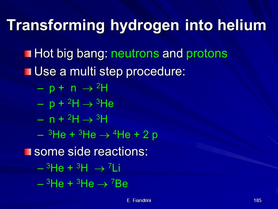 E. Fiandrini 184 Formation of helium in the big bang Hydrogen: 1 nucleon (proton) Helium: 4 nucleons (2 protons, 2 neutrons) In order to from helium f