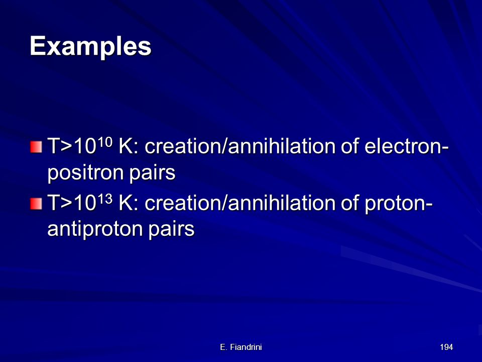 E. Fiandrini 193 Pair creation Antiparticle: same mass as particle, but opposite charge. Antimatter has positive mass !!!!!! e+e+e+e+ e-e-e-e- The inv