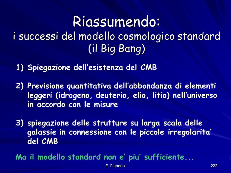 E. Fiandrini 221 Sommario della nuova cosmologia: si fonda su 3 fatti/osservazioni 1 postulato + 1 modello di riferimento 1)su larga scala luniverso e