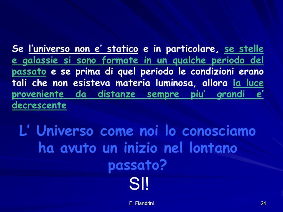 E. Fiandrini 23 d t Poiche' la luce viaggia a velocita' finita, guardare lontano significa andare indietro nella vita dell'Universo