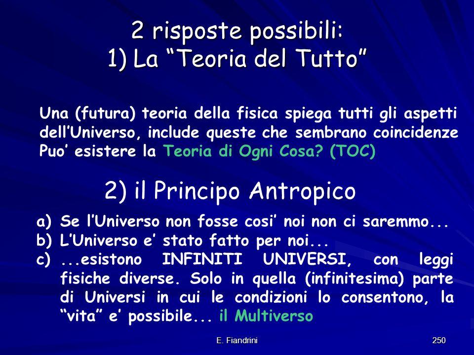 E. Fiandrini 249 Siamo in un universo speciale ? Molti indizi suggeriscono che delle condizioni dellUniverso anche solo infinitesimamente differenti a