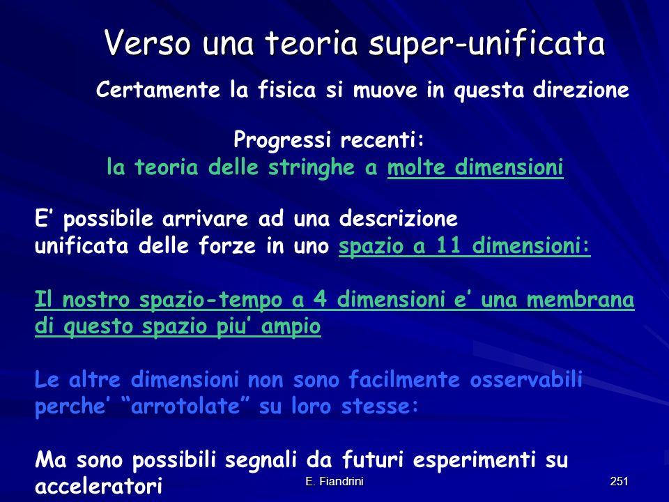 E. Fiandrini 250 2 risposte possibili: 1) La Teoria del Tutto 2) il Principo Antropico Una (futura) teoria della fisica spiega tutti gli aspetti dellU