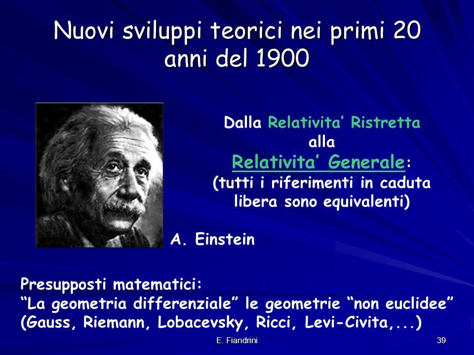 E. Fiandrini 38 La velocita con cui si espande R (velocita di recessione) puo anche essere maggiore di c! La limitazione a c vale solo per corpi mater