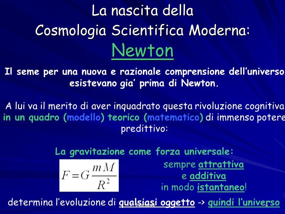 E. Fiandrini 3 Cose la Cosmologia Cosmologia scientifica: descrizione dellUniverso nel suo insieme a partire dalle leggi fisiche fondamentali (cosi co