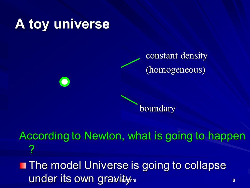 E. Fiandrini 7 Newton e i suoi contemporanei (e i posteri fino al 1920 o quasi) pensano all Universo come una entita Statica Un universo statico non p
