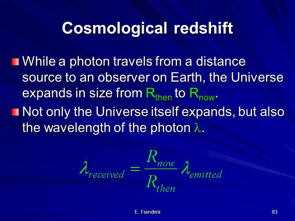 E. Fiandrini 82 Ancora lanalogia BiDimensionale (attenzione!!!...) Adesso possiamo capire meglio la legge di Hubble: la lunghezza d'onda della luce si