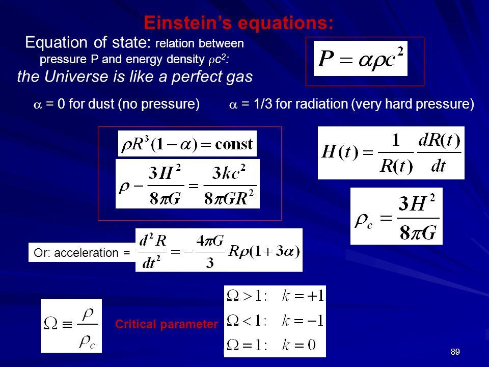 E. Fiandrini 88 Evoluzione dinamica dellUniverso 1.K>0, <1 Universo aperto, espansione infinita 2.K=0, =1 Universo piatto, velocità si annulla 3.K 1 U