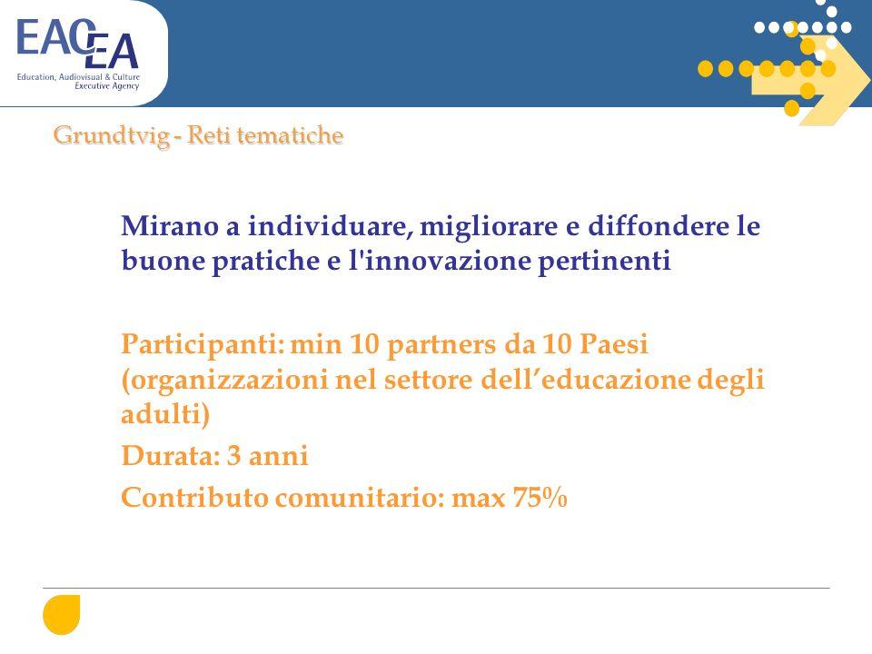 Grundtvig - Reti tematiche Mirano a individuare, migliorare e diffondere le buone pratiche e l'innovazione pertinenti Participanti: min 10 partners da