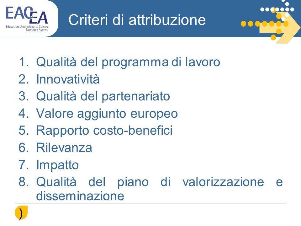 Criteri di attribuzione 1.Qualità del programma di lavoro 2.Innovatività 3.Qualità del partenariato 4.Valore aggiunto europeo 5.Rapporto costo-benefic