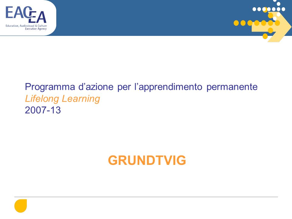 Programma dazione per lapprendimento permanente Lifelong Learning 2007-13 GRUNDTVIG