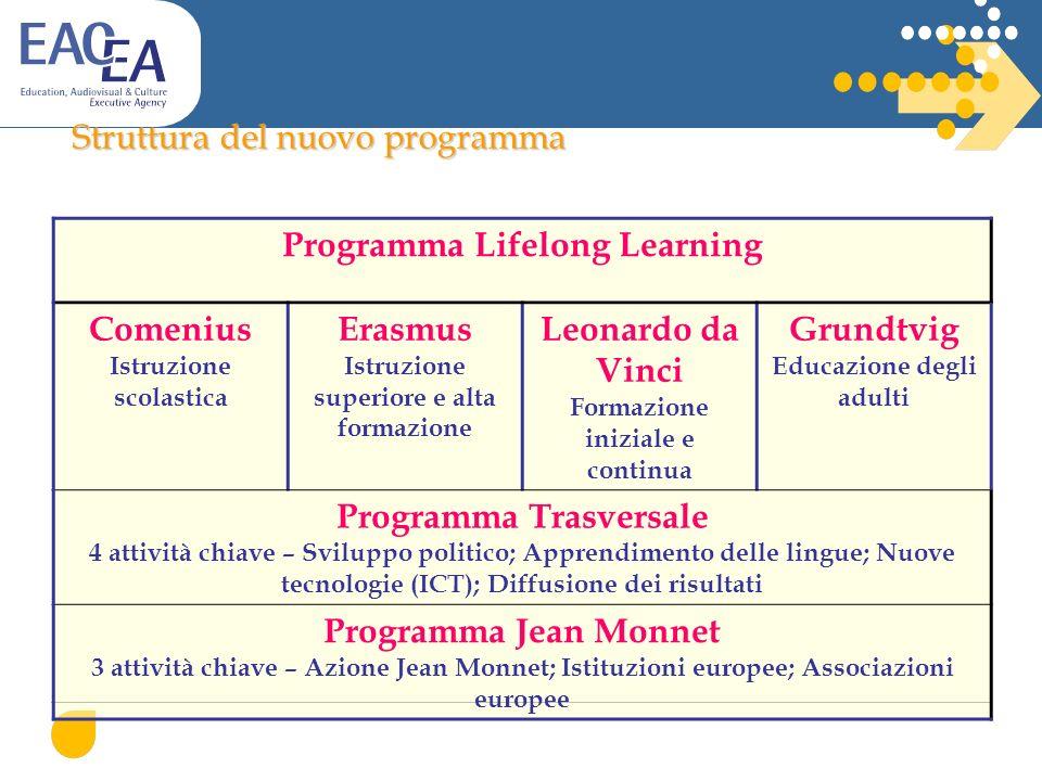 Struttura del nuovo programma Programma Lifelong Learning Comenius Istruzione scolastica Erasmus Istruzione superiore e alta formazione Leonardo da Vi