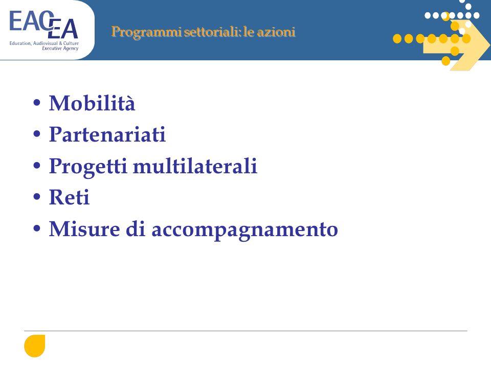 Programmi settoriali: le azioni Mobilità Partenariati Progetti multilaterali Reti Misure di accompagnamento
