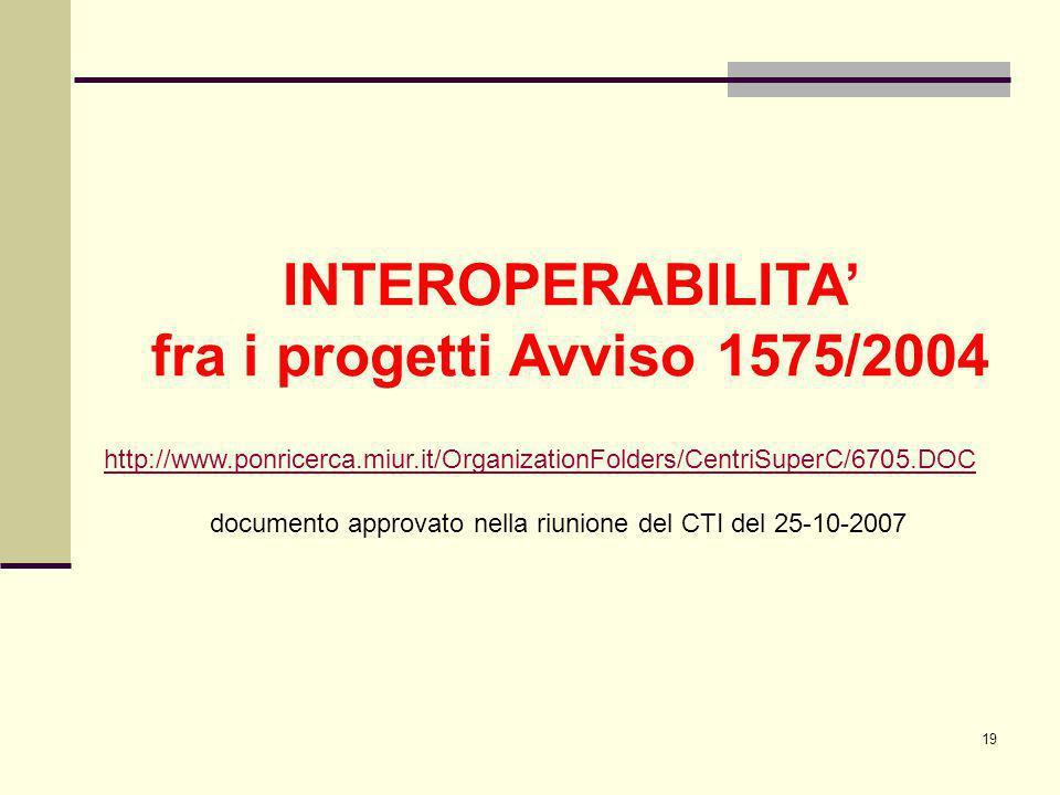 19 INTEROPERABILITA fra i progetti Avviso 1575/2004 http://www.ponricerca.miur.it/OrganizationFolders/CentriSuperC/6705.DOC documento approvato nella