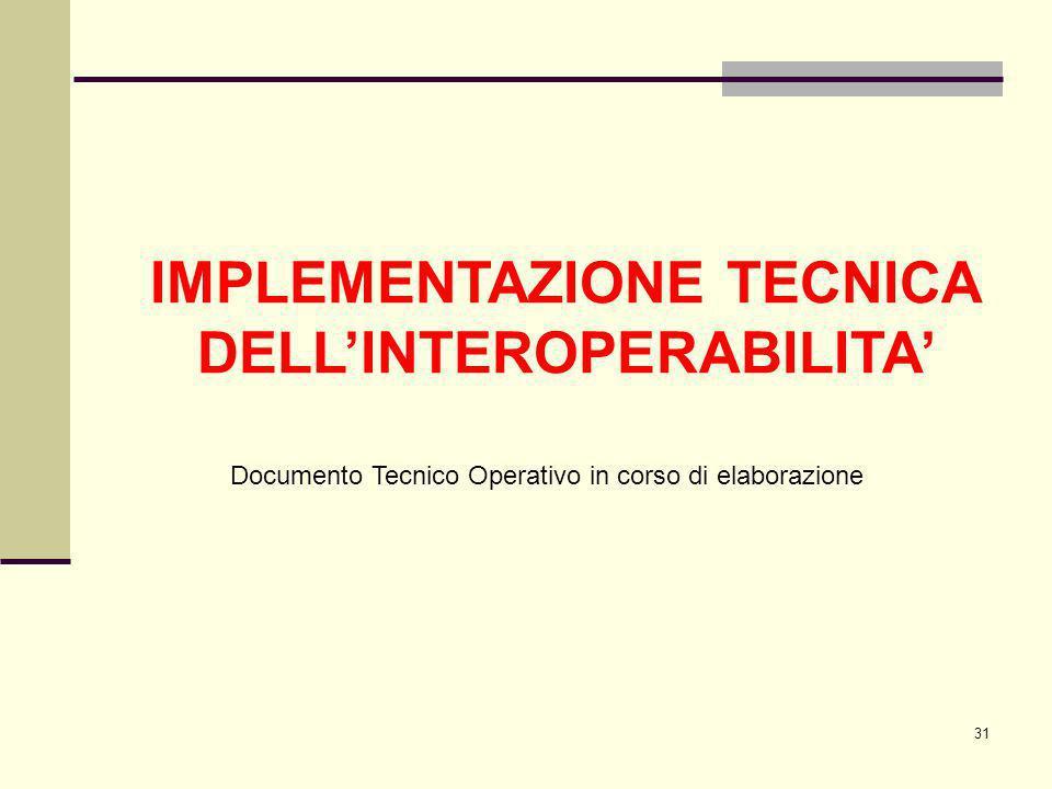31 IMPLEMENTAZIONE TECNICA DELLINTEROPERABILITA Documento Tecnico Operativo in corso di elaborazione