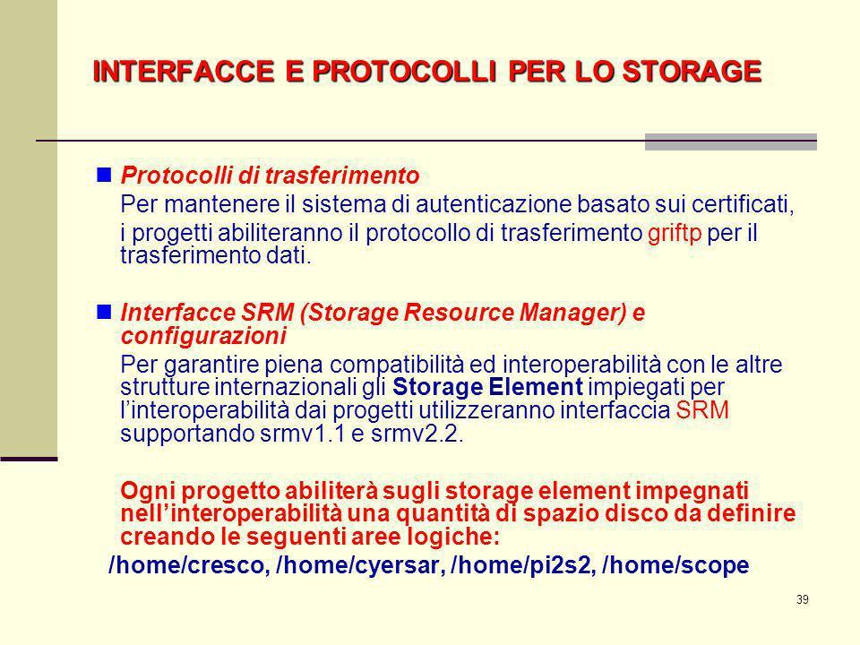 39 Protocolli di trasferimento Per mantenere il sistema di autenticazione basato sui certificati, i progetti abiliteranno il protocollo di trasferimen