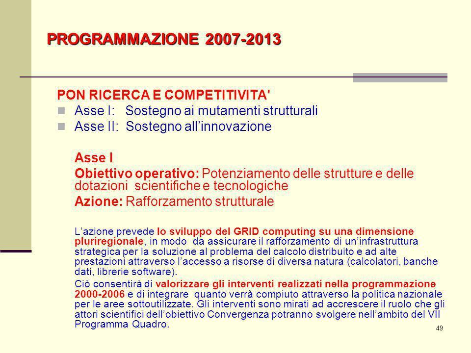 49 PROGRAMMAZIONE 2007-2013 PON RICERCA E COMPETITIVITA Asse I: Sostegno ai mutamenti strutturali Asse II: Sostegno allinnovazione Asse I Obiettivo op