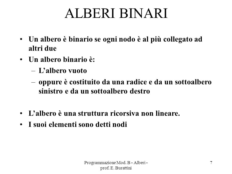 Programmazione Mod. B - Alberi - prof. E. Burattini 28 H=5 Foglie L=3 L=2 L=4 L=5 L=1 L=0