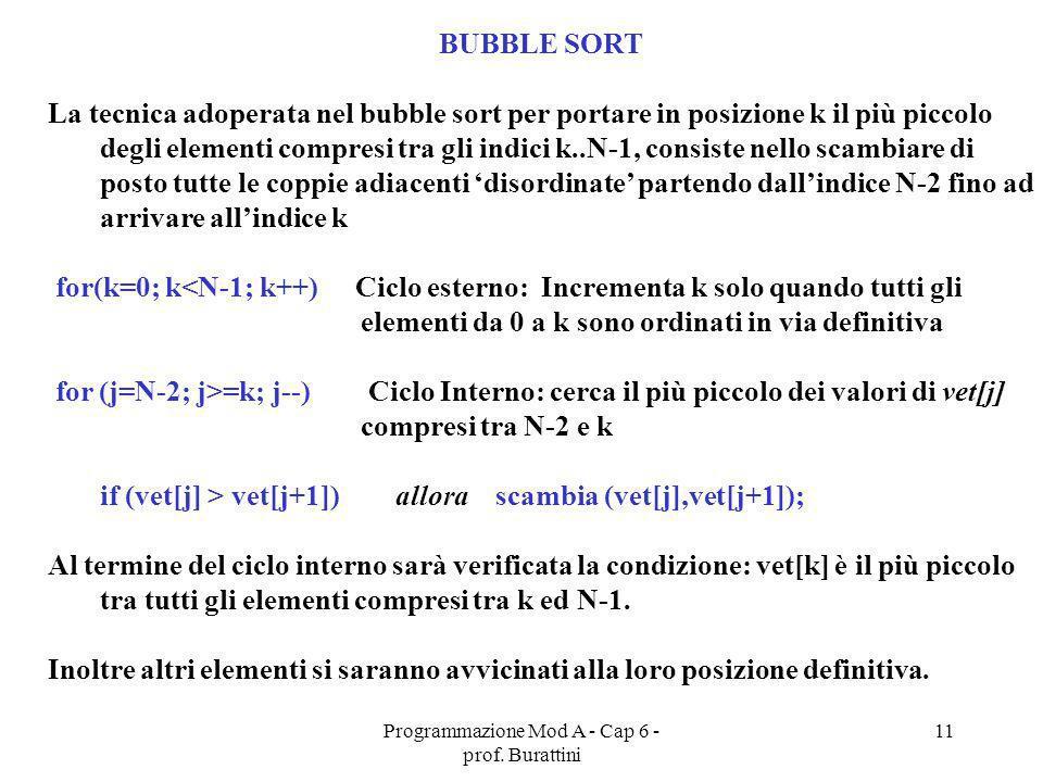 Programmazione Mod A - Cap 6 - prof. Burattini 11 BUBBLE SORT La tecnica adoperata nel bubble sort per portare in posizione k il più piccolo degli ele