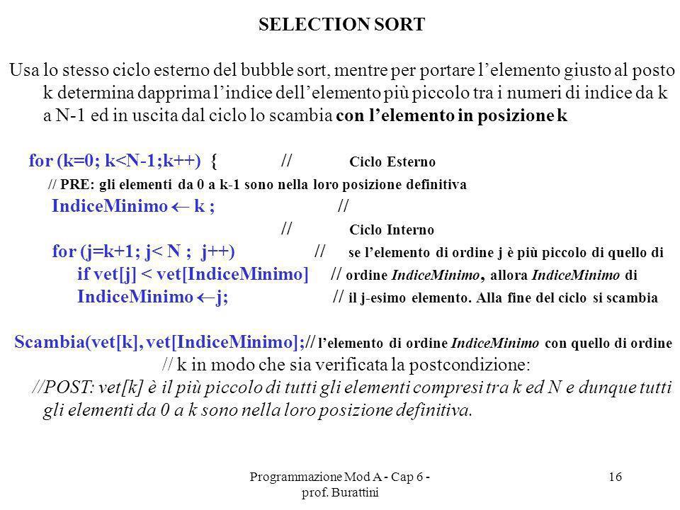 Programmazione Mod A - Cap 6 - prof. Burattini 16 SELECTION SORT Usa lo stesso ciclo esterno del bubble sort, mentre per portare lelemento giusto al p