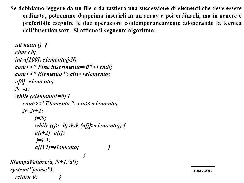 Programmazione Mod A - Cap 6 - prof. Burattini 25 Se dobbiamo leggere da un file o da tastiera una successione di elementi che deve essere ordinata, p