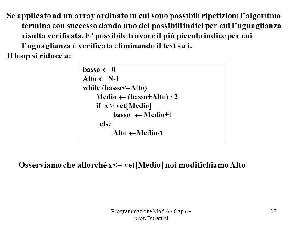 Programmazione Mod A - Cap 6 - prof. Burattini 37 Se applicato ad un array ordinato in cui sono possibili ripetizioni lalgoritmo termina con successo