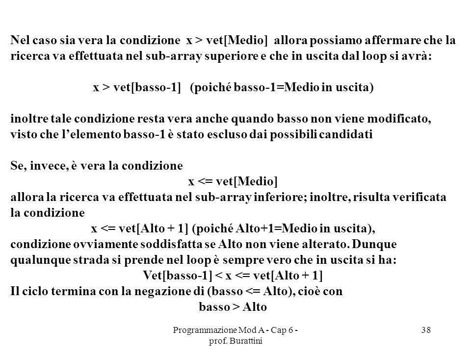 Programmazione Mod A - Cap 6 - prof. Burattini 38 Nel caso sia vera la condizione x > vet[Medio] allora possiamo affermare che la ricerca va effettuat
