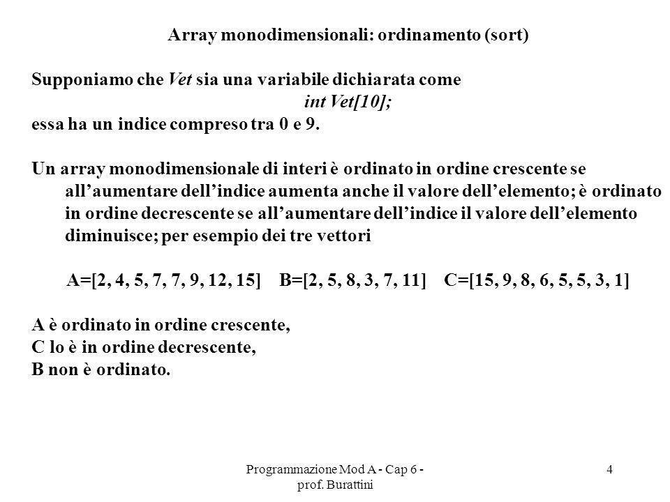Programmazione Mod A - Cap 6 - prof. Burattini 4 Array monodimensionali: ordinamento (sort) Supponiamo che Vet sia una variabile dichiarata come int V