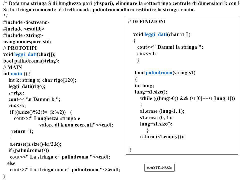 Programmazione Mod A - Cap 6 - prof. Burattini 46 /* Data una stringa S di lunghezza pari (dispari), eliminare la sottostringa centrale di dimensioni