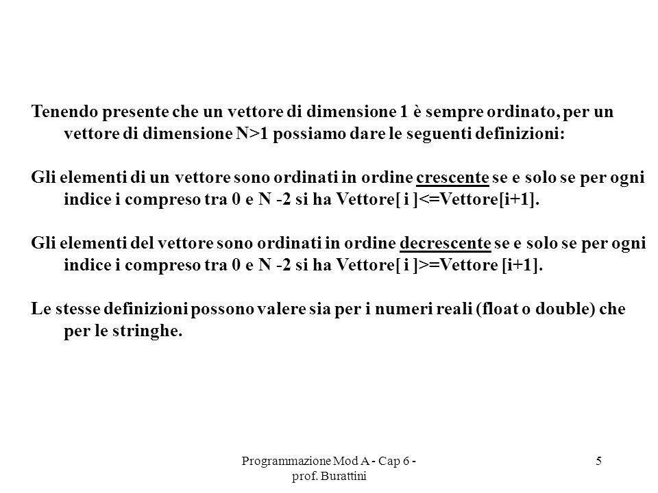 Programmazione Mod A - Cap 6 - prof. Burattini 5 Tenendo presente che un vettore di dimensione 1 è sempre ordinato, per un vettore di dimensione N>1 p