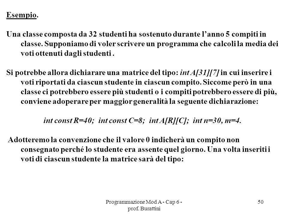 Programmazione Mod A - Cap 6 - prof. Burattini 50 Esempio. Una classe composta da 32 studenti ha sostenuto durante lanno 5 compiti in classe. Supponia
