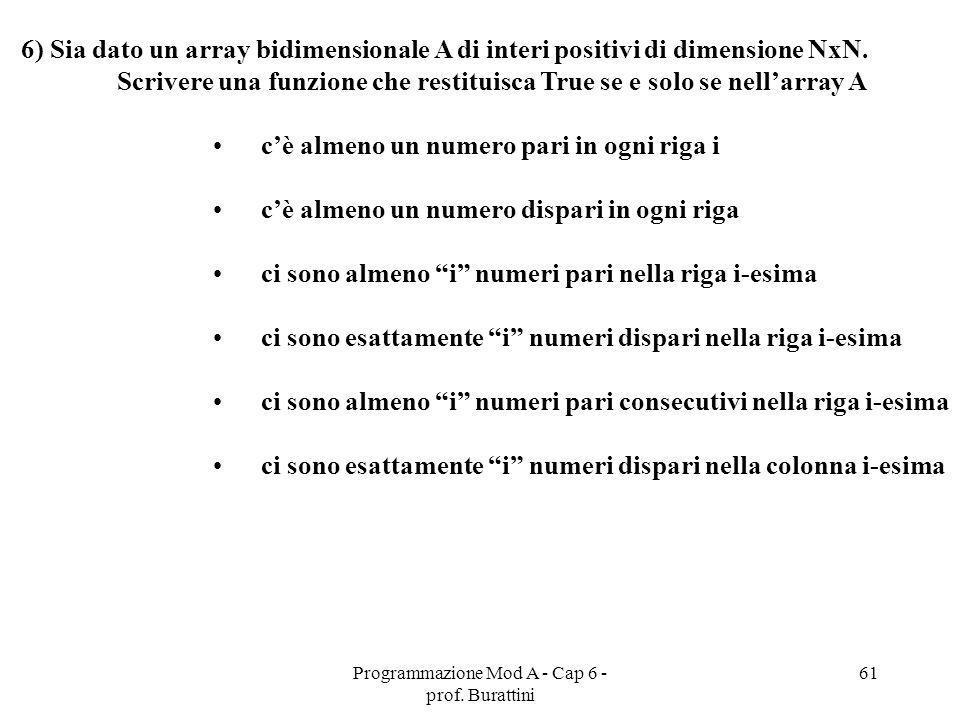Programmazione Mod A - Cap 6 - prof. Burattini 61 6) Sia dato un array bidimensionale A di interi positivi di dimensione NxN. Scrivere una funzione ch