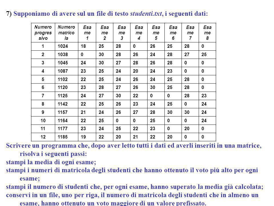 Programmazione Mod A - Cap 6 - prof. Burattini 62 7) Supponiamo di avere sul un file di testo studenti.txt, i seguenti dati: Scrivere un programma che