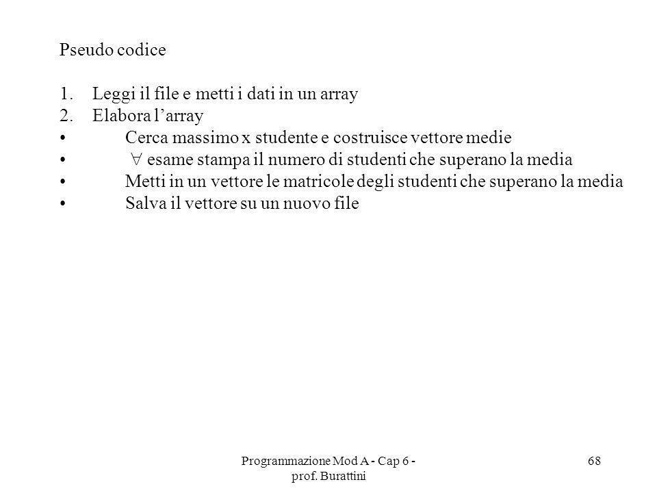 Programmazione Mod A - Cap 6 - prof. Burattini 68 Pseudo codice 1.Leggi il file e metti i dati in un array 2.Elabora larray Cerca massimo x studente e