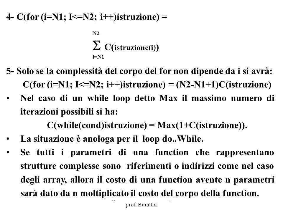 Programmazione Mod A - Cap 6 - prof. Burattini 74 4- C(for (i=N1; I<=N2; i++)istruzione) = 5- Solo se la complessità del corpo del for non dipende da