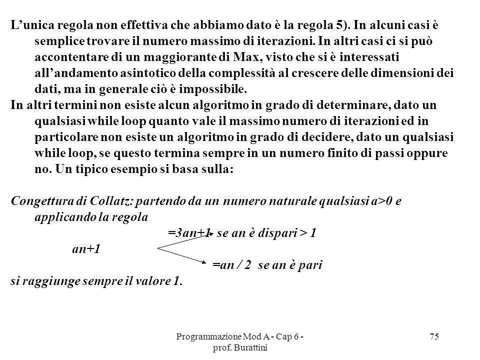 Programmazione Mod A - Cap 6 - prof. Burattini 75 Lunica regola non effettiva che abbiamo dato è la regola 5). In alcuni casi è semplice trovare il nu