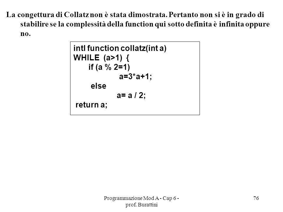 Programmazione Mod A - Cap 6 - prof. Burattini 76 La congettura di Collatz non è stata dimostrata. Pertanto non si è in grado di stabilire se la compl