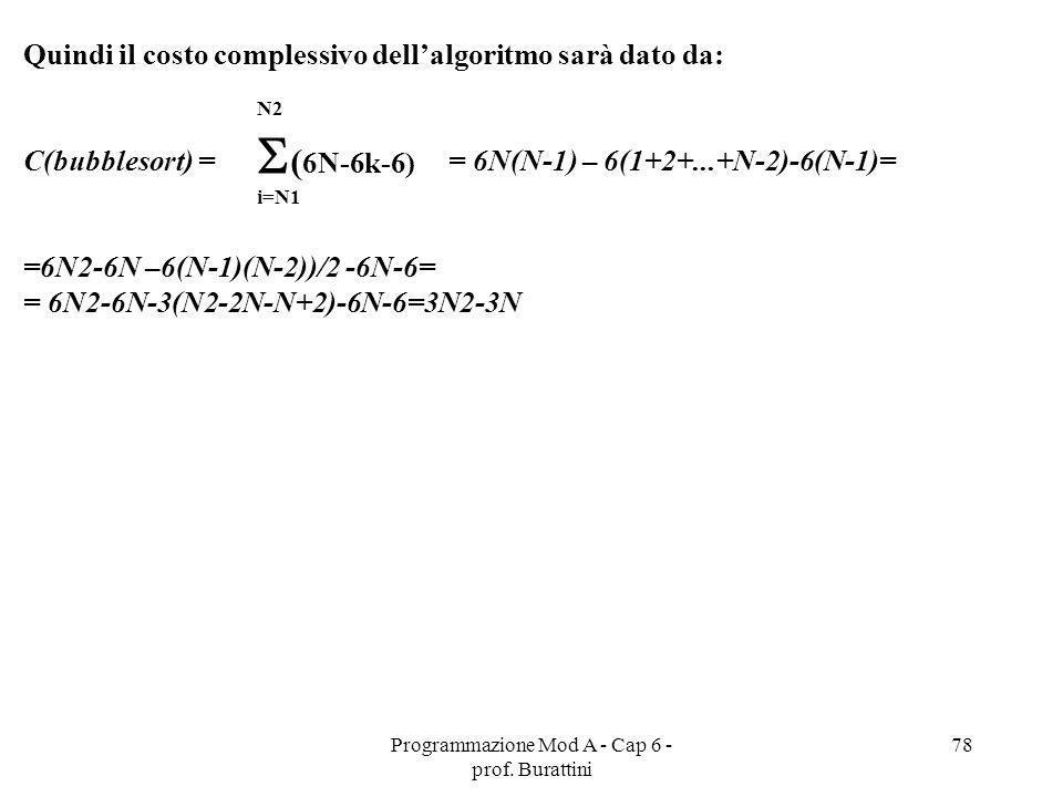 Programmazione Mod A - Cap 6 - prof. Burattini 78 Quindi il costo complessivo dellalgoritmo sarà dato da: C(bubblesort) = = 6N(N-1) – 6(1+2+...+N-2)-6