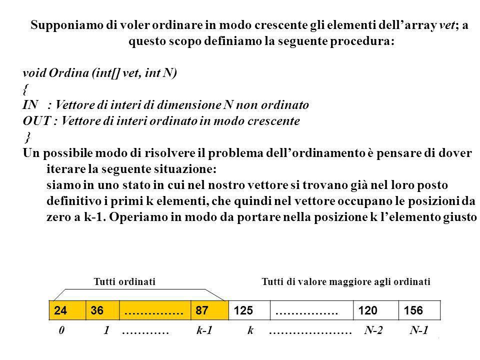Programmazione Mod A - Cap 6 - prof. Burattini 8 Supponiamo di voler ordinare in modo crescente gli elementi dellarray vet; a questo scopo definiamo l