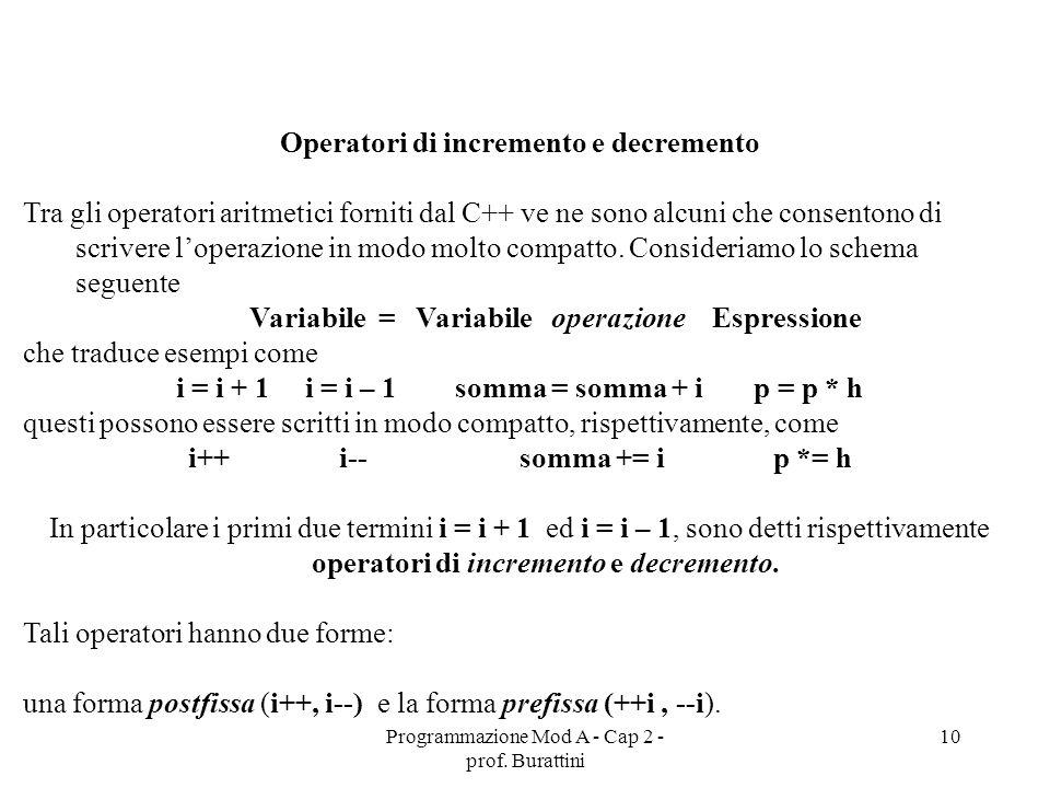Programmazione Mod A - Cap 2 - prof. Burattini 10 Operatori di incremento e decremento Tra gli operatori aritmetici forniti dal C++ ve ne sono alcuni