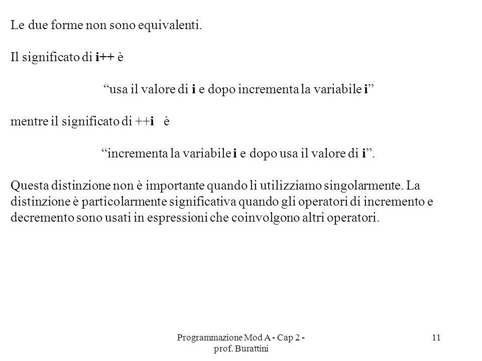 Programmazione Mod A - Cap 2 - prof. Burattini 11 Le due forme non sono equivalenti. Il significato di i++ è usa il valore di i e dopo incrementa la v