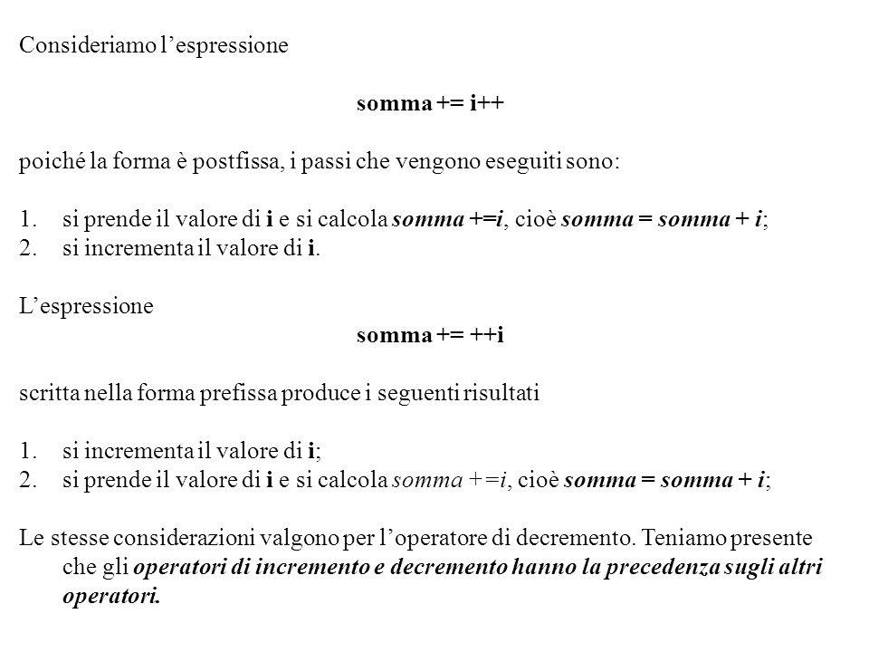 Programmazione Mod A - Cap 2 - prof. Burattini 12 Consideriamo lespressione somma += i++ poiché la forma è postfissa, i passi che vengono eseguiti son