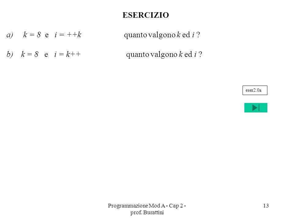 Programmazione Mod A - Cap 2 - prof. Burattini 13 ESERCIZIO a) k = 8 e i = ++k quanto valgono k ed i ? b)k = 8 e i = k++ quanto valgono k ed i ? eser2