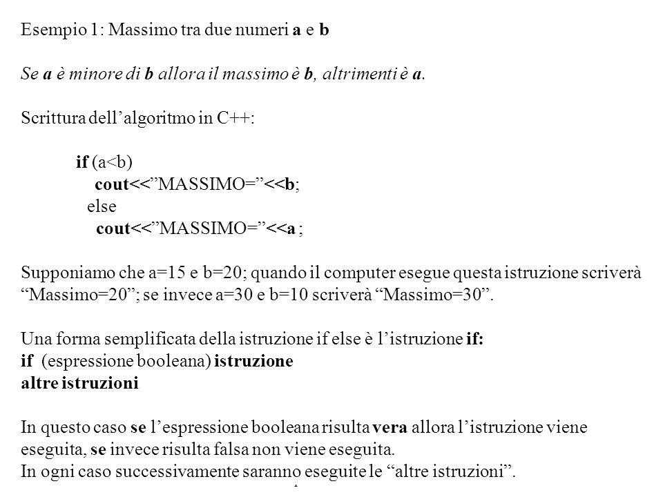 Programmazione Mod A - Cap 2 - prof. Burattini 16 Esempio 1: Massimo tra due numeri a e b Se a è minore di b allora il massimo è b, altrimenti è a. Sc