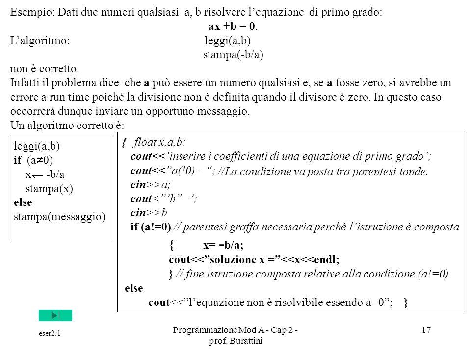 Programmazione Mod A - Cap 2 - prof. Burattini 17 Esempio: Dati due numeri qualsiasi a, b risolvere lequazione di primo grado: ax +b = 0. Lalgoritmo: