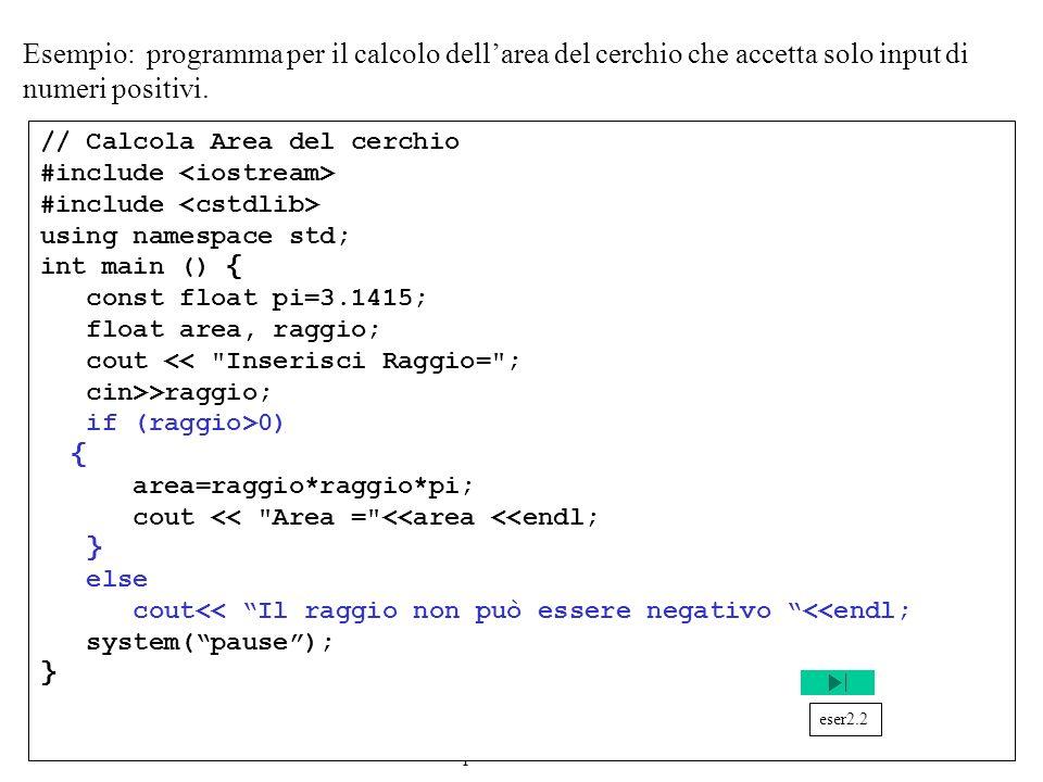 Programmazione Mod A - Cap 2 - prof. Burattini 18 Esempio: programma per il calcolo dellarea del cerchio che accetta solo input di numeri positivi. //