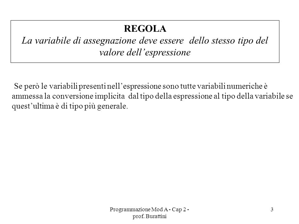 Programmazione Mod A - Cap 2 - prof. Burattini 3 Se però le variabili presenti nellespressione sono tutte variabili numeriche è ammessa la conversione