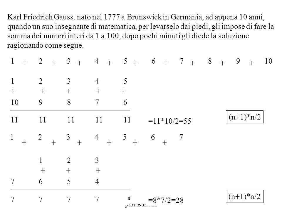 Programmazione Mod A - Cap 2 - prof. Burattini 34 Karl Friedrich Gauss, nato nel 1777 a Brunswick in Germania, ad appena 10 anni, quando un suo insegn