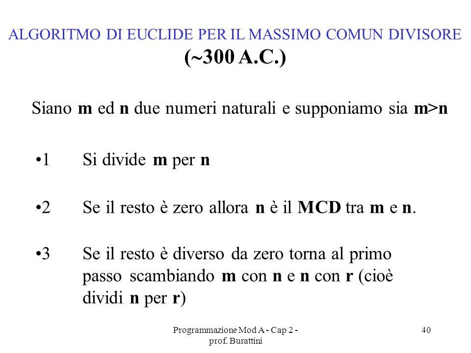 Programmazione Mod A - Cap 2 - prof. Burattini 40 ALGORITMO DI EUCLIDE PER IL MASSIMO COMUN DIVISORE ( 300 A.C.) Siano m ed n due numeri naturali e su