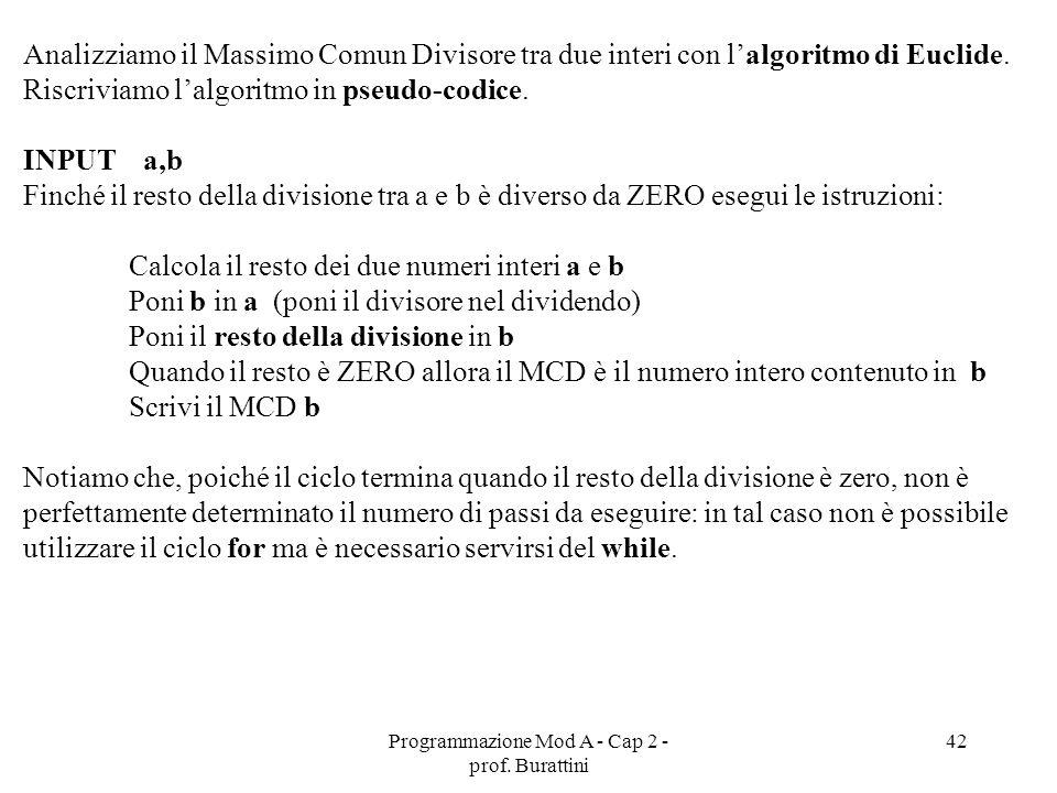 Programmazione Mod A - Cap 2 - prof. Burattini 42 Analizziamo il Massimo Comun Divisore tra due interi con lalgoritmo di Euclide. Riscriviamo lalgorit