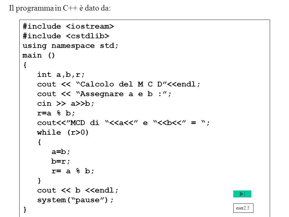 Programmazione Mod A - Cap 2 - prof. Burattini 43 Il programma in C++ è dato da: #include using namespace std; main () { int a,b,r; cout << Calcolo de